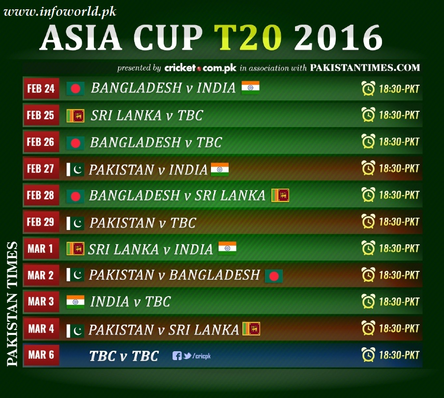 Asia Cup 2016 Schedule Fixtures all Matches Time Table