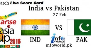 India vs Pakistan Live Score Card 2016
