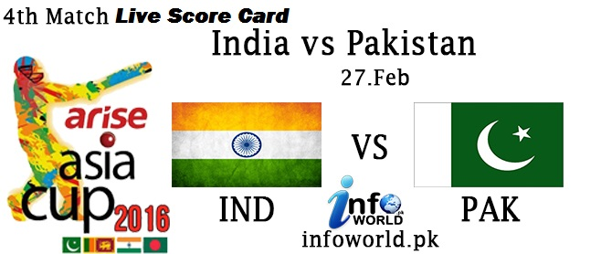Pakistan vs India 4rth T20 Asia Cup Live Score Card