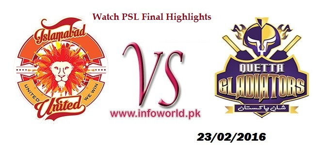 Watch Online HBL T20 PSL 2016 Final Match Highlights
