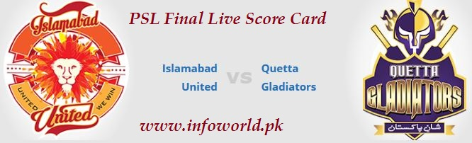 Islamabad United vs Quetta Gladiators Live Score Card