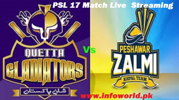 PSL Peshawar Zalmi vs Quetta Gladiators Live Streaming