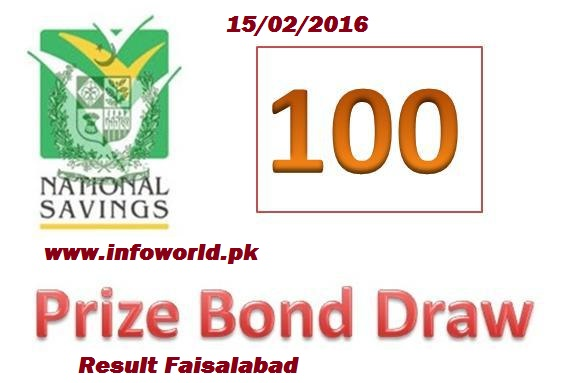 15th February 2016 Rs 100 Prize Bond Result Faisalabad