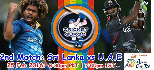 Sri vs UAE Live Streaming