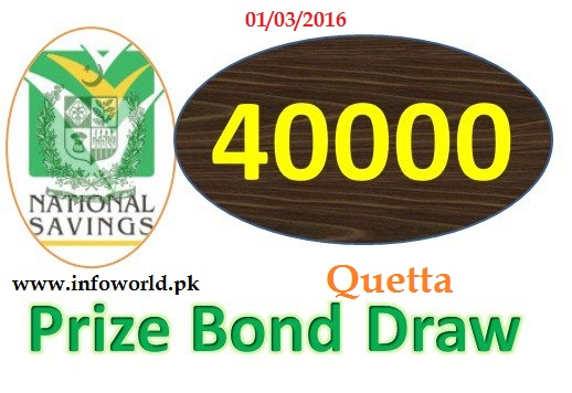 1st March 2016 Rs 40000 Prize Bond Draw Result