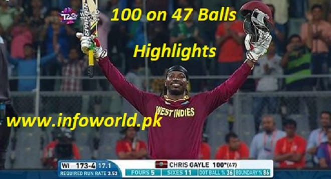 ICC WT20 Chris Gayle 100 Runs 47 Balls Highlights
