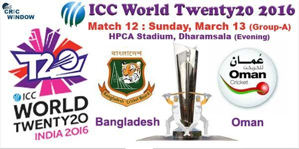 Oman vs Bangladesh World Cup 2016 T20 Match Prediction