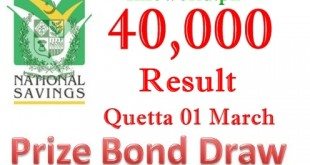 Rs 40000 Quetta Prize Bond Result