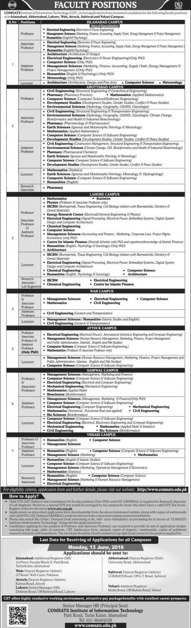 Download Online COMSATS CIIT 2016 Jobs Application Form