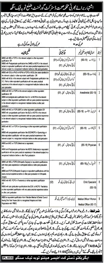 Health Department Toba Tek Singh District Govt Jobs