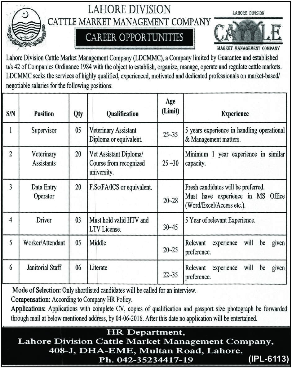 Jobs in Lahore Division Cattle Market Management Company