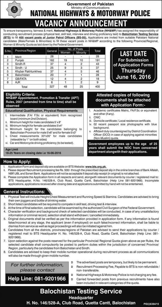 National Highway Motorway Police Latest 2016 Jobs