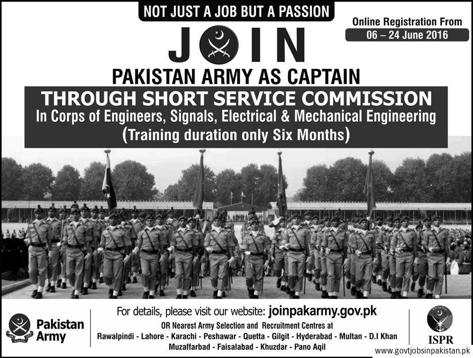 Latest 2016 Join Pakistan Army as Captain