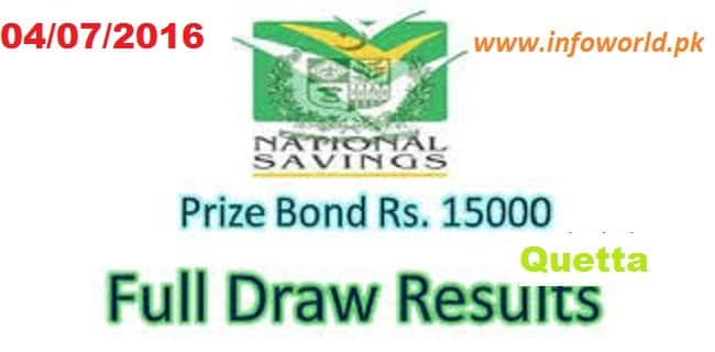 Prize Bond Rs 15000 Lucky Draw Result Quetta