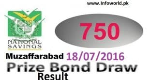 Rs 750 Prize Bond Lucky Draw Result 18-07-2016