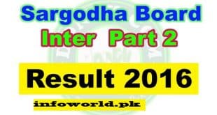 Bise Sargodha Board 12th Class Result 17th September 2016