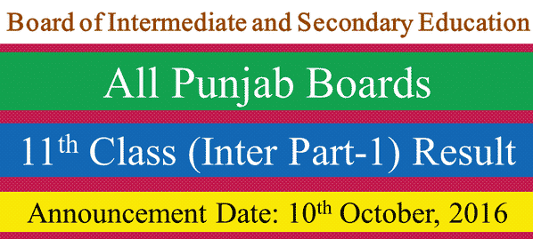 Inter Part-1 (11th Class) Result 10th October 2016
