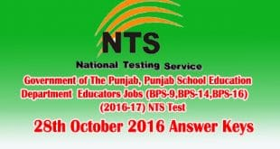 NTS Test 28rd October 2016 Answer Keys Check Online