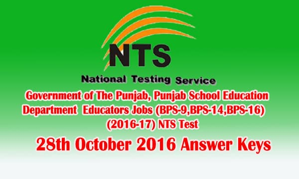 NTS Test 28th October 2016 Answer Keys Check Online