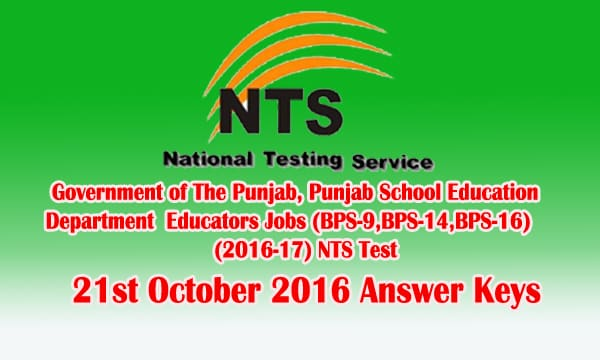 NTS Test 21st October 2016 Answer Keys Check Online