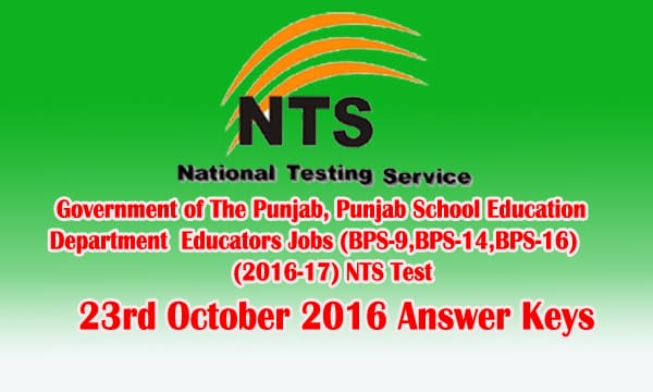 NTS Test 23rd October 2016 Answer Keys Check Online