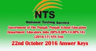 NTS Test 22nd October 2016 Answer Keys Check Online