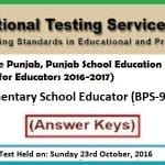 NTS Answer Keys Elementary School Educator BPS-9 A5