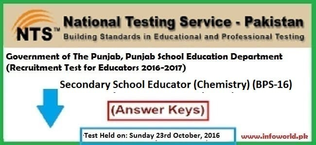 NTS Answer Keys Educator Chemistry BPS-16