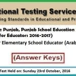 NTS Answer Keys Educator Arabic BPS-14