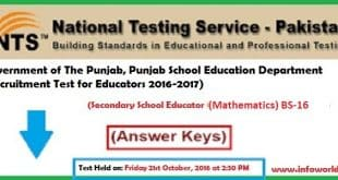 NTS Answer Keys Secondary School Educator Mathematics