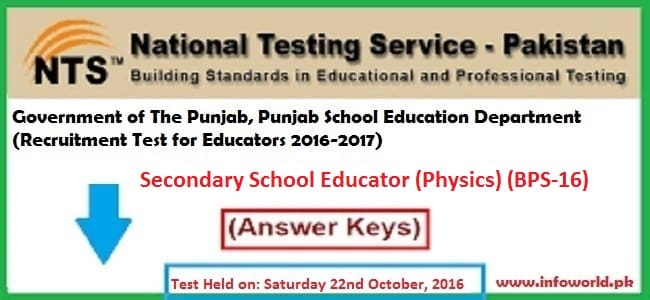 NTS Answer Keys Secondary School Educator Physics