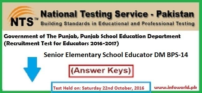 NTS Answer Keys Senior Elementary School Educator DM