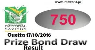 Prize Bond Rs 750 Draw Result 17th Oct 2016