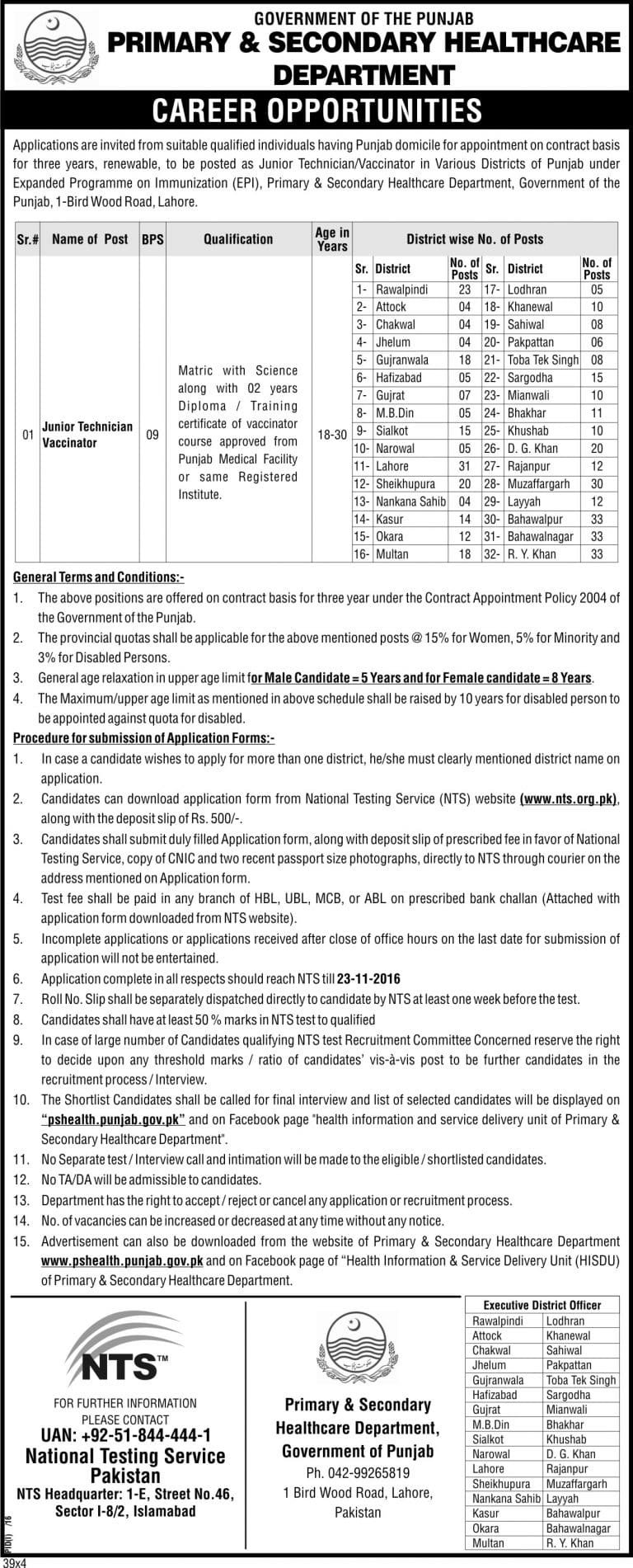 NTS Jobs Junior Technician Vaccinators