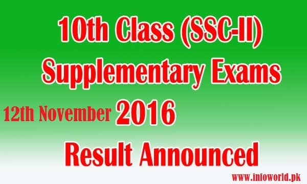 Punjab Boards Matric Supply Result 2016 Announced