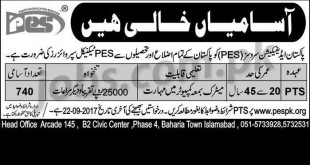 Pakistan Edification Services (PES) Jobs 2017 For 740+ PES Technical Supervisors (PTS) (Matric+ Apply)