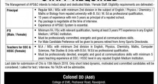 Army Jobs Army Public school & college Rawalpindi Jobs 2018