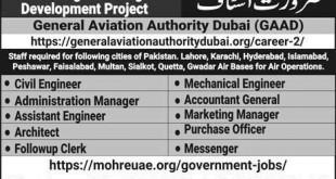 General Aviation Authority Dubai Jobs in Pakistan for Learning&Earning Project 2018